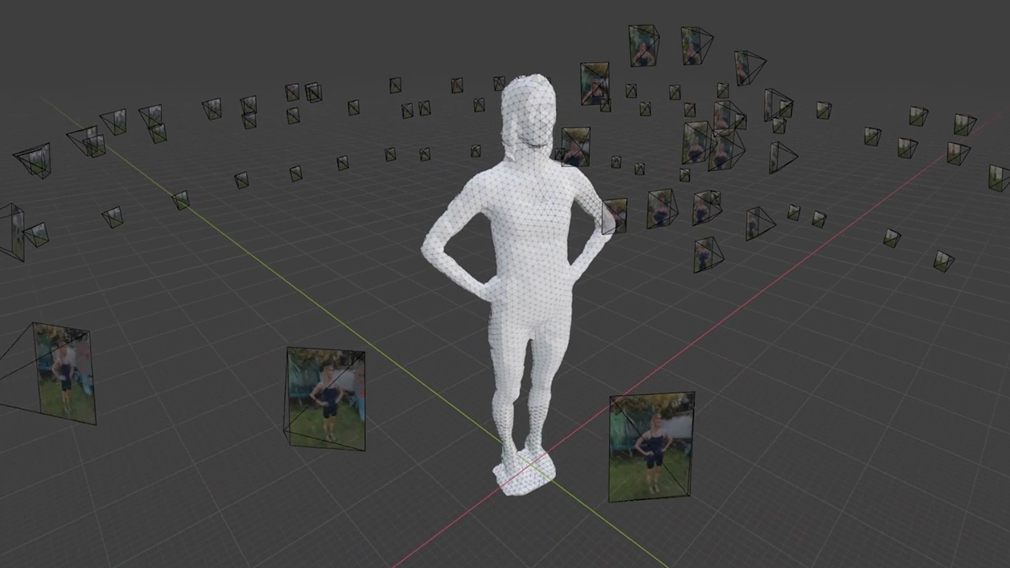 Virtual reality lady standing with dress on