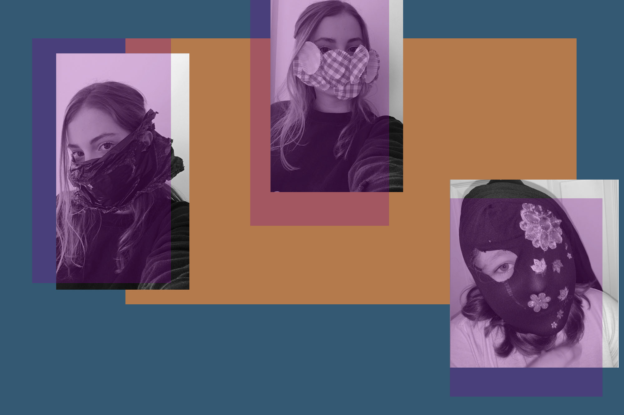 Montage of photos showing students experimenting with making their own masks