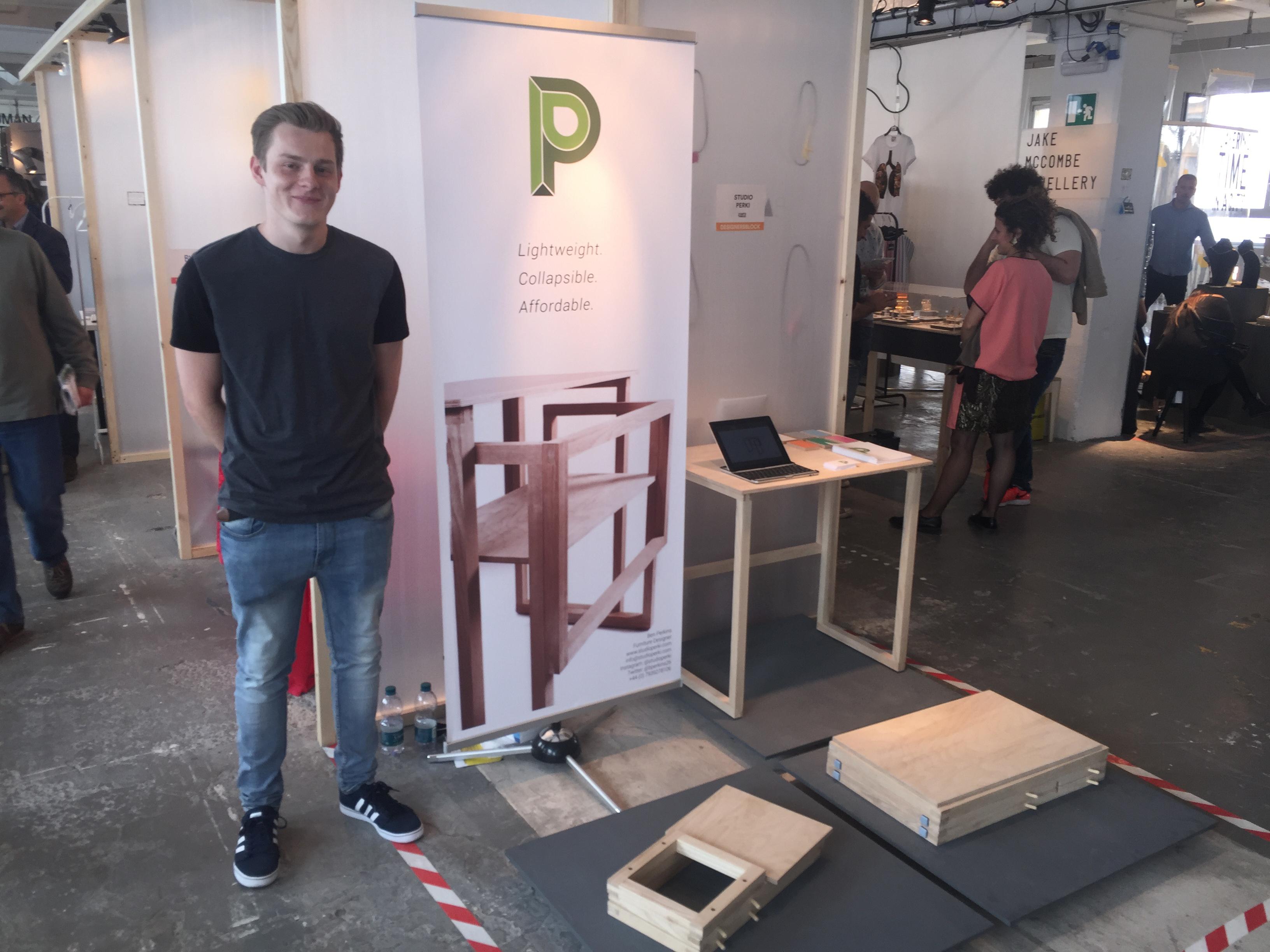 Ben Perkins at Exhibition Stand at Milan Design Week