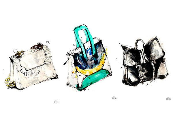 COLLECTIIllustration: Hayley McDonald, BA (Hons) Fashion Illustration. Bags created by Max Cunningham, Isabella Kerovirta, Sienne McNiven – all BA (Hons) Cordwainers Fashion Bags and Accessories.ON-BAGLADIES_(c)Hayley_McDonald