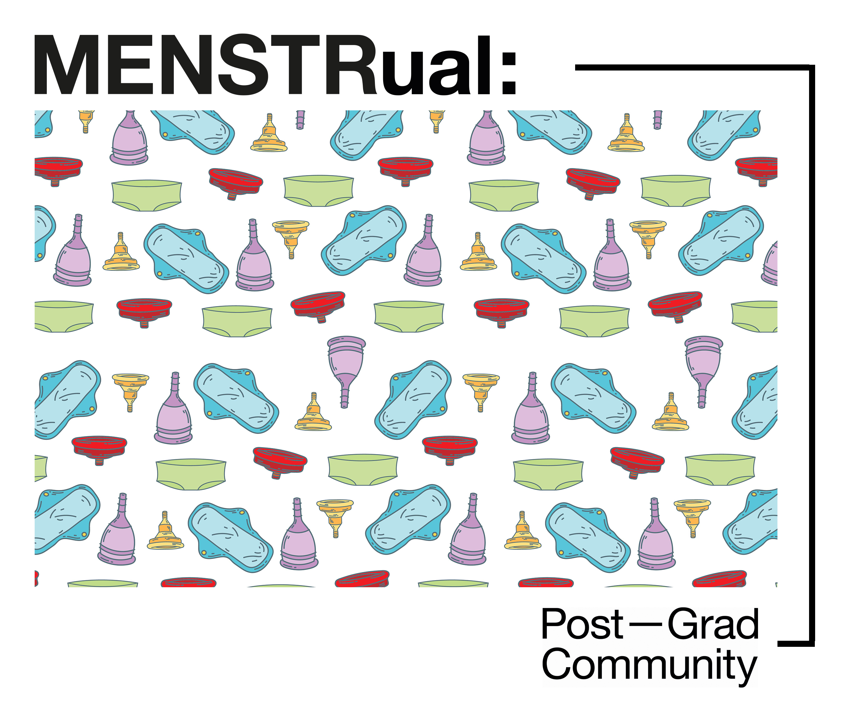 illustration with menstrual products