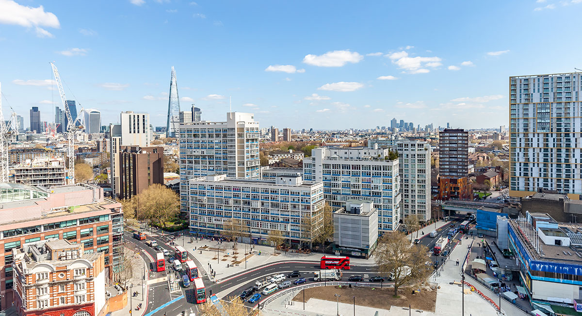 A view across Elephant and Castle from the top floor of the College Building.