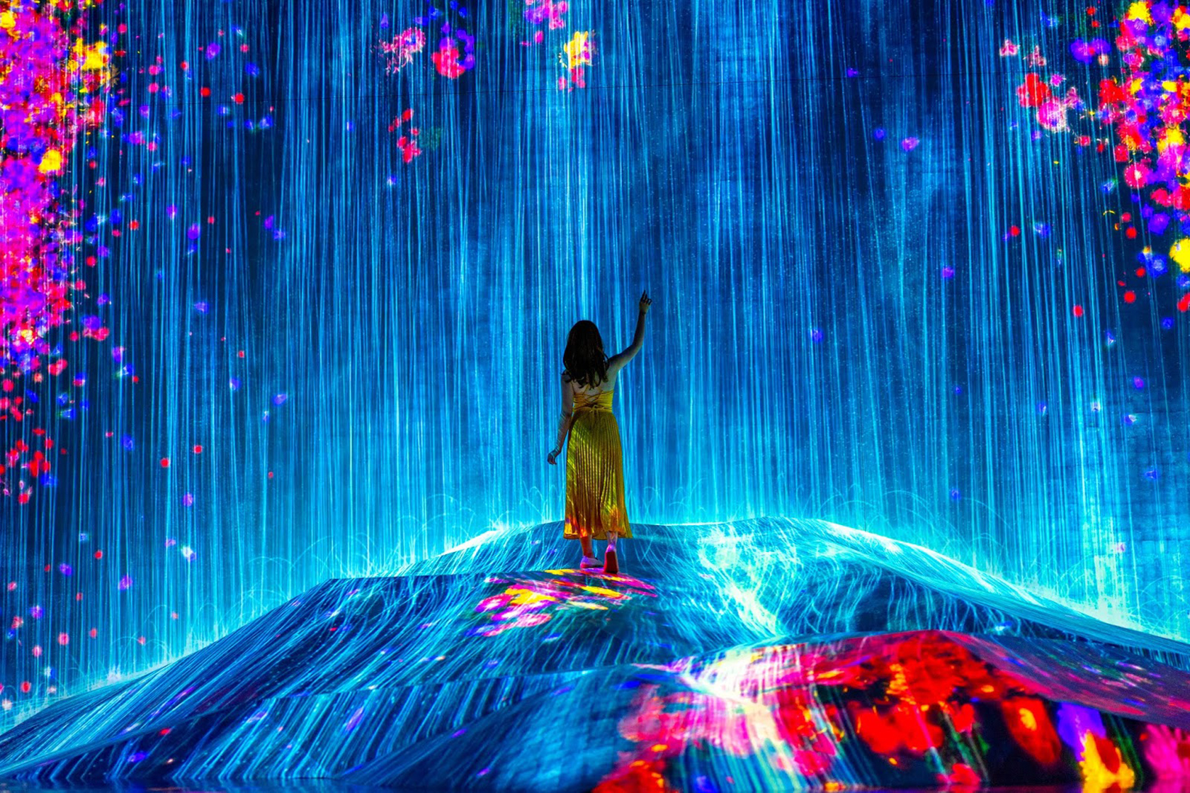 Digitally created scene showing a woman in the middle of a rainy landscape