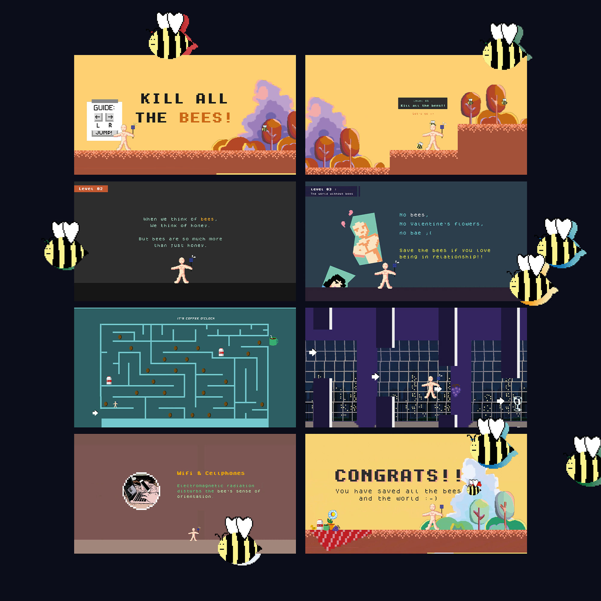 Various graphics from a computer game about bees