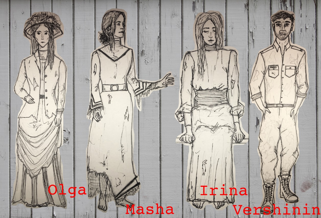 Three Sisters Costume drawings small