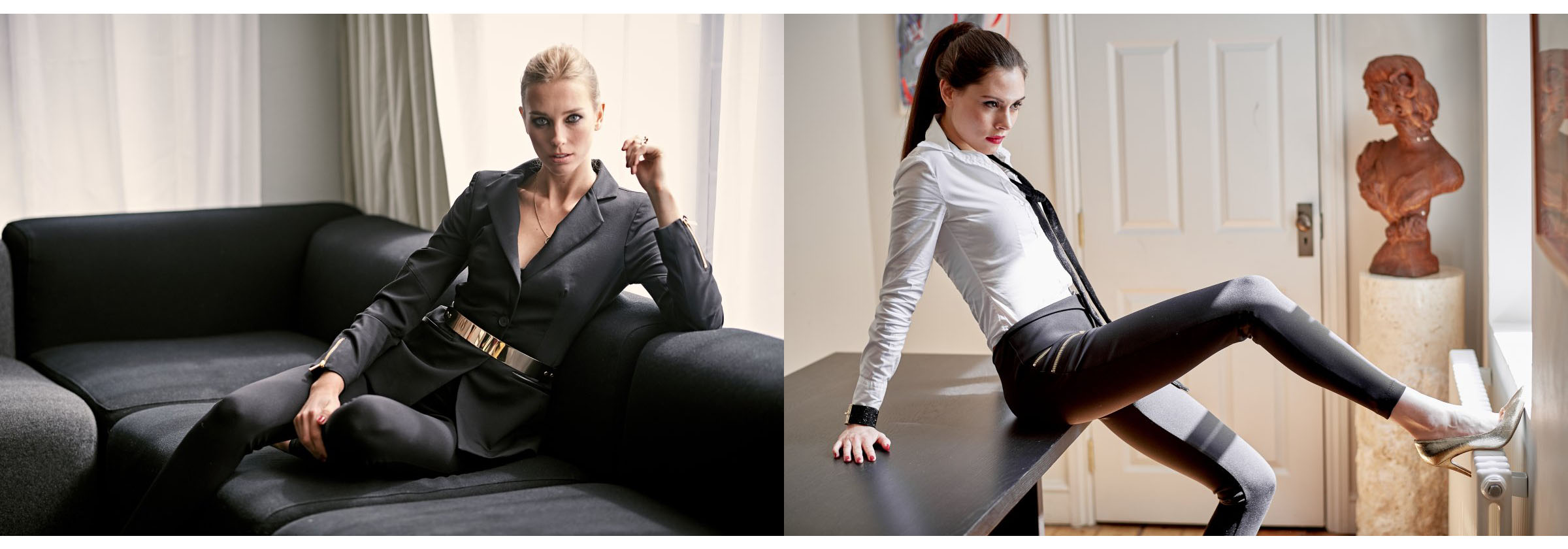Female models wearing outfits for the office