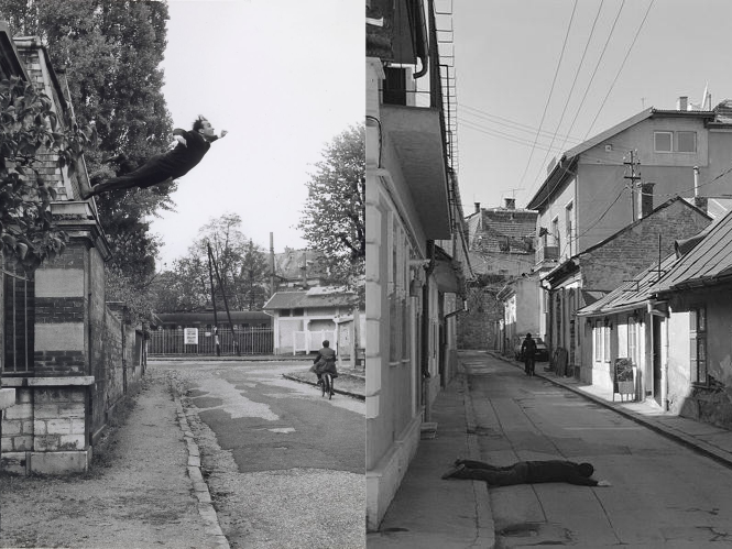 Photograph of Yves Klein leaping from a window