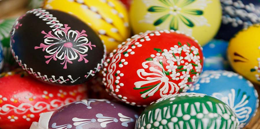 Brightly painted and decorated eggs