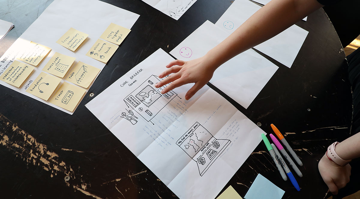A table is filled with post-it notes, Sharpie pens and plans for a project titled: 'Code Breaker'