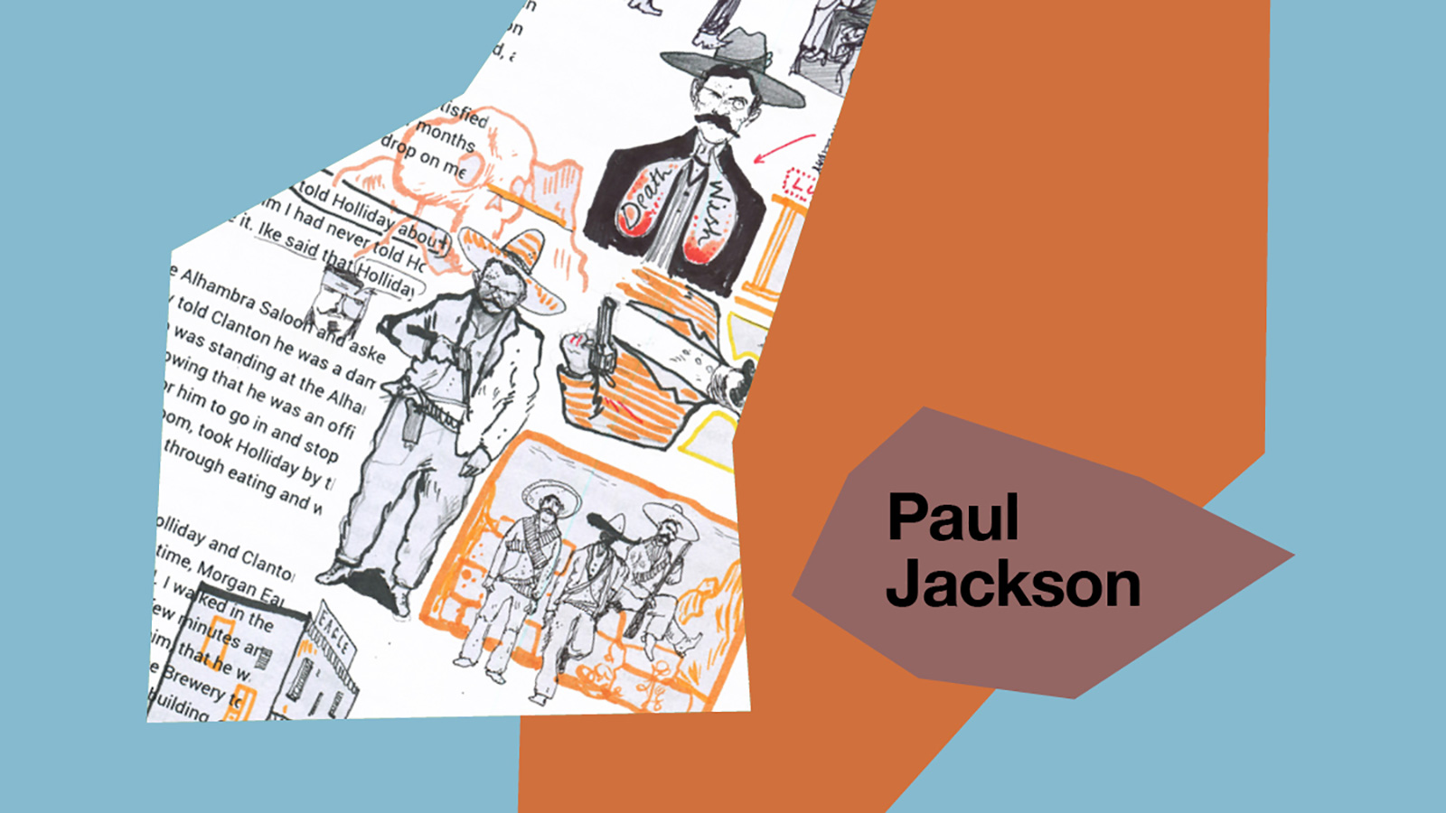 A collage featuring Paul's illustration work.