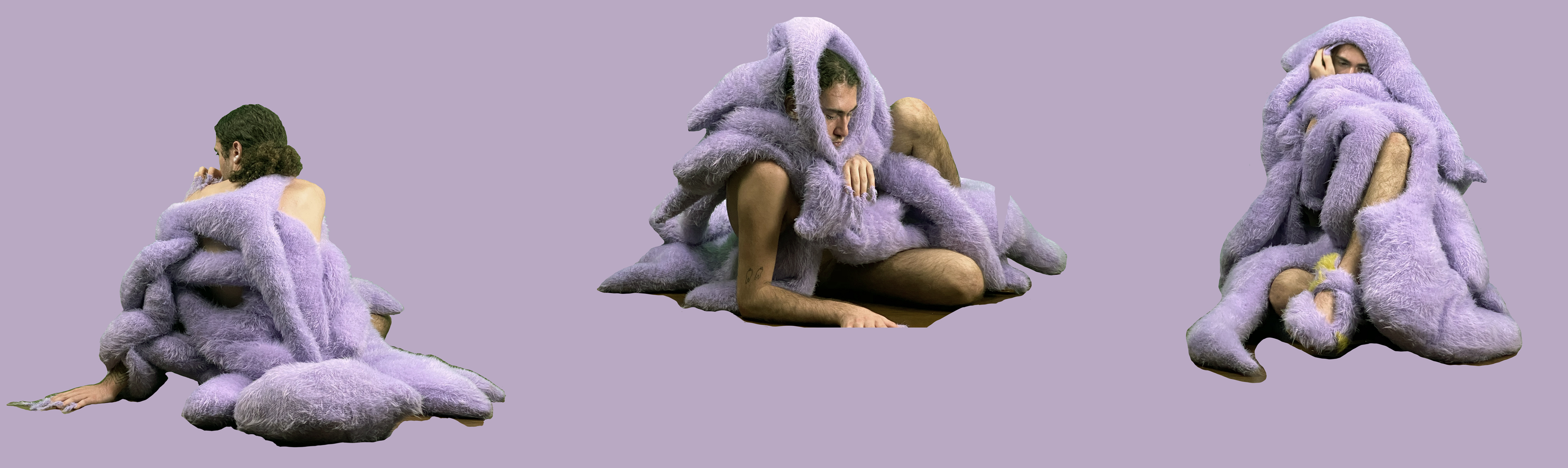Stephanie Uhart's BA work, purple comfort, model in furry covering.