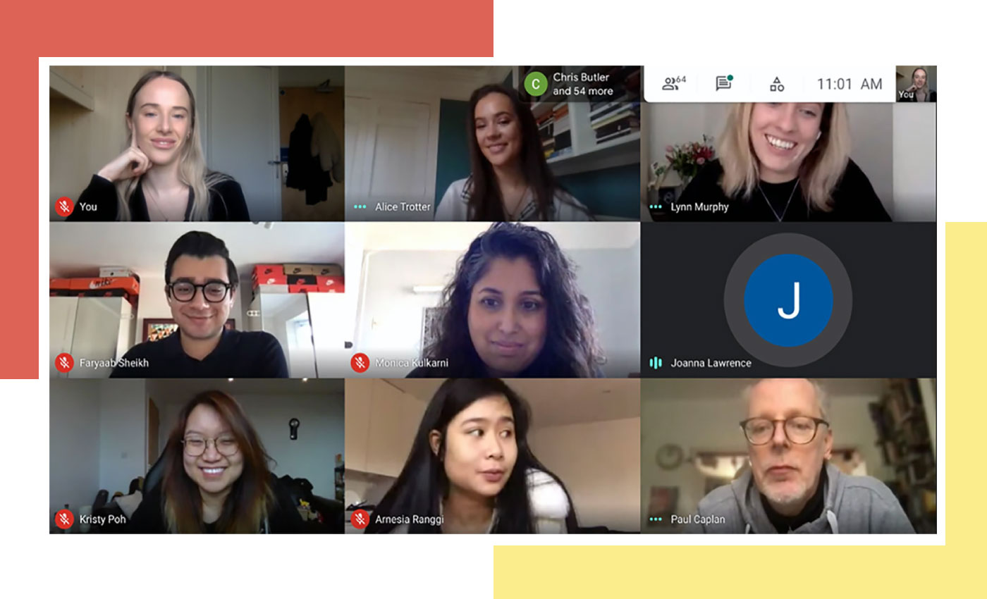A screenshot of students' live Zoom presentations.