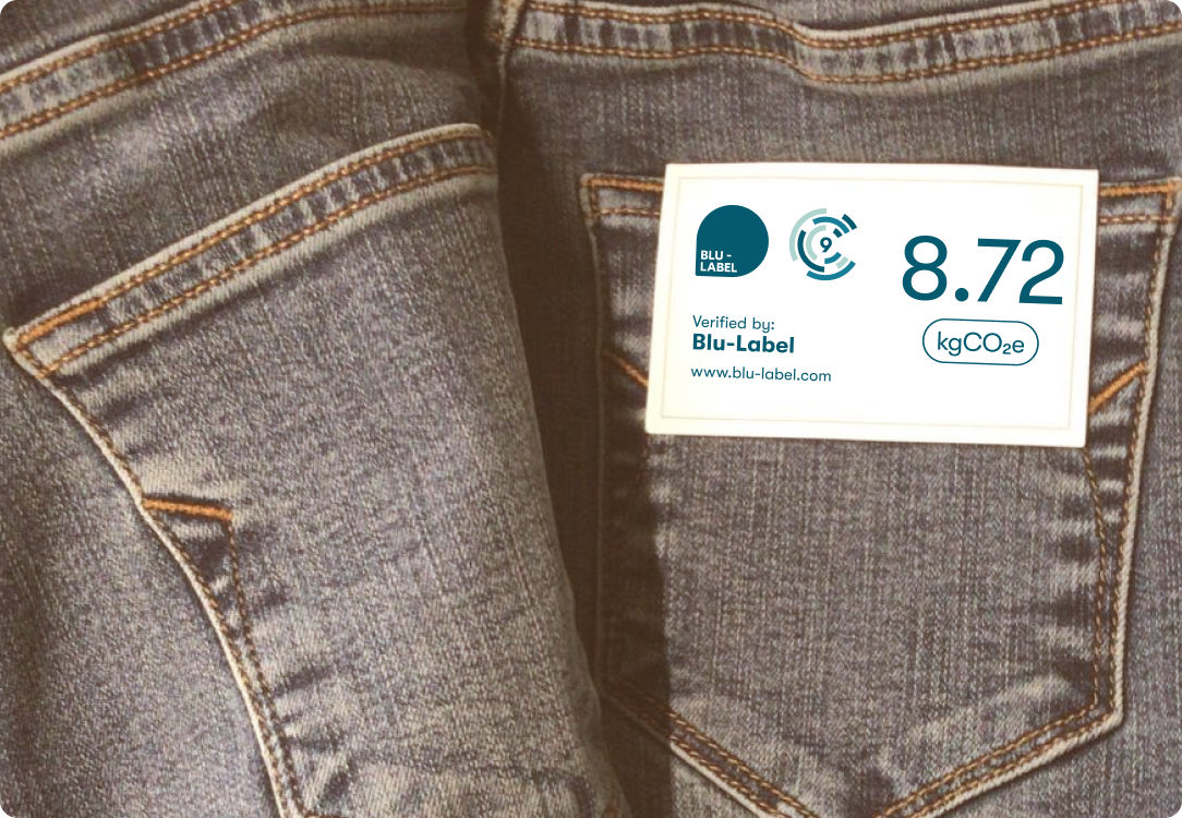 jeans with information label