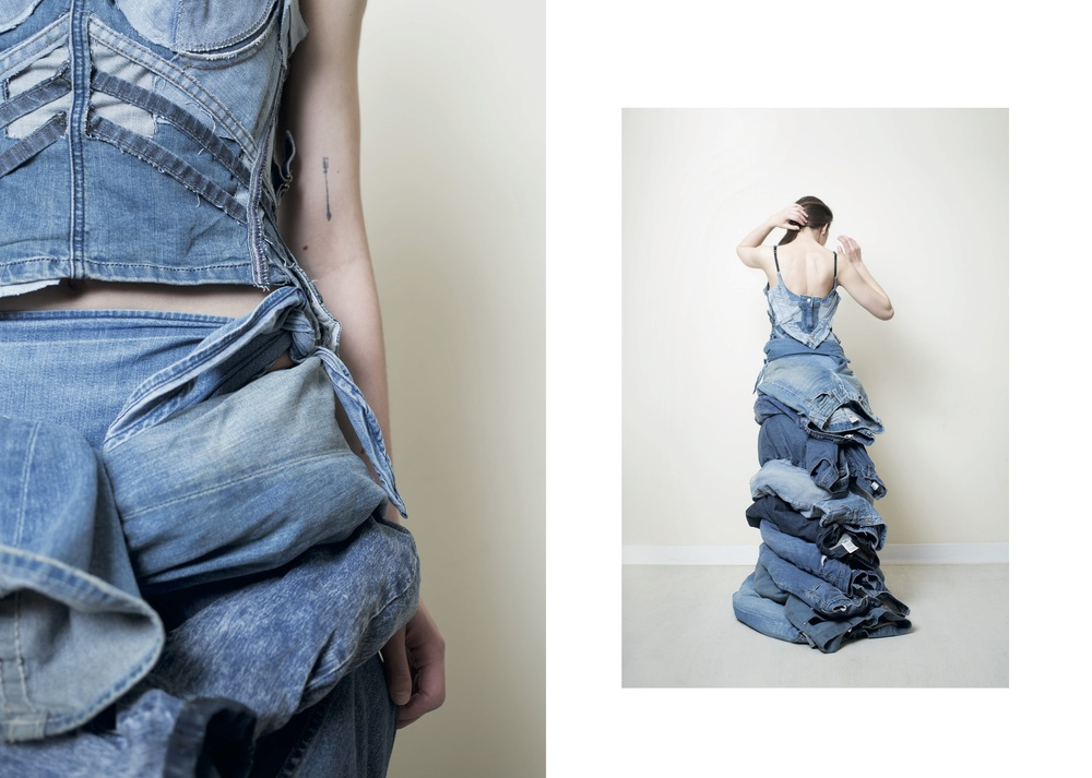 Gown made of 13 pairs of blue jeans
