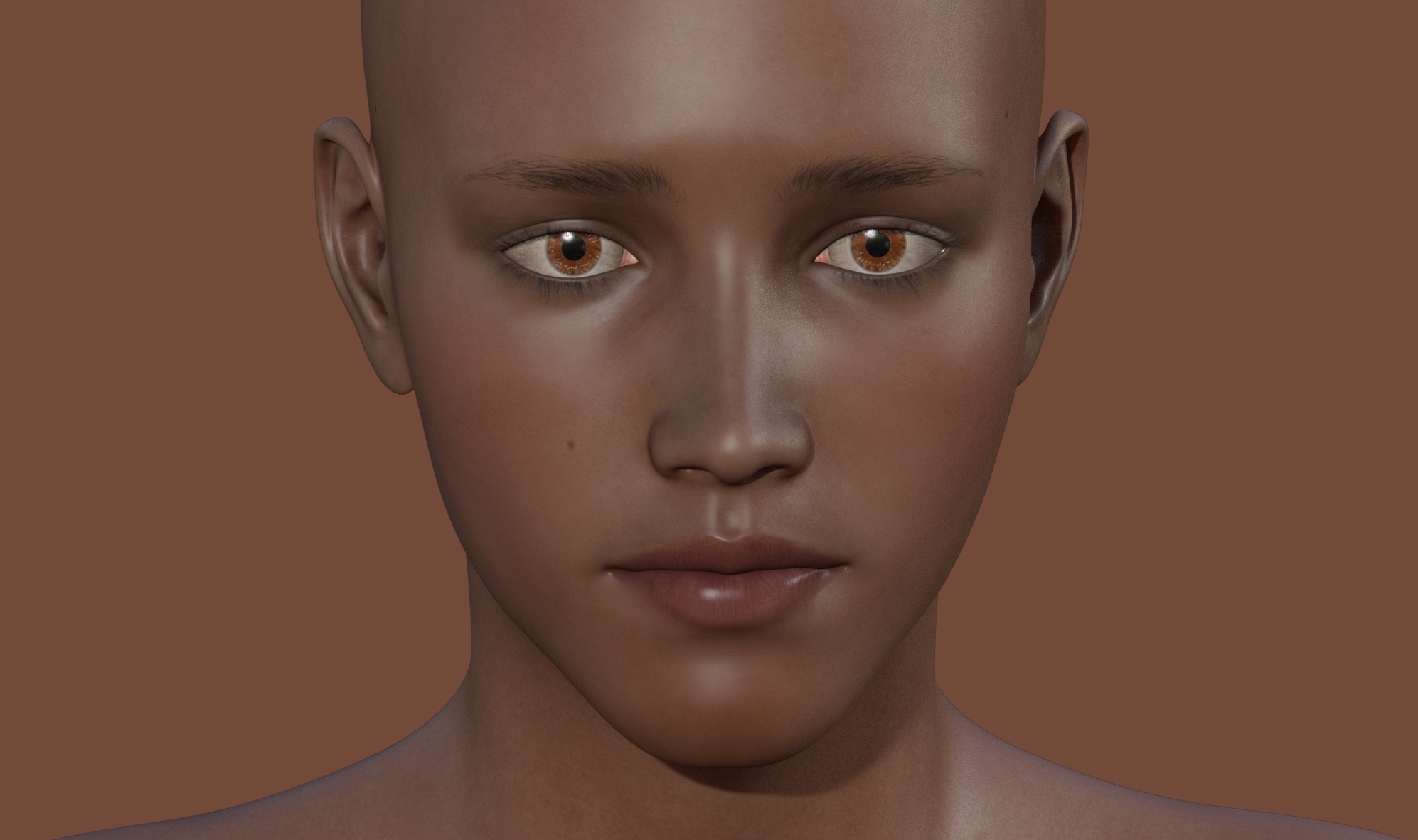 Computer generated face of a human