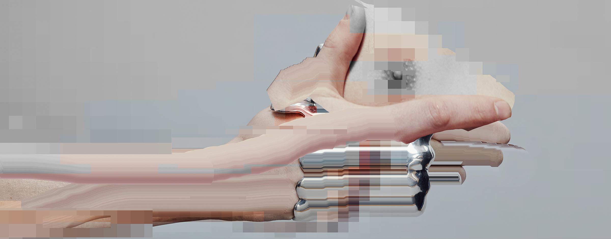 Pixelated hand