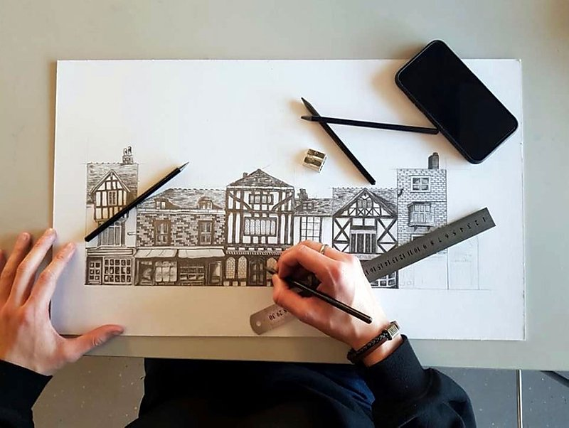 Pencil drawing of a row of houses