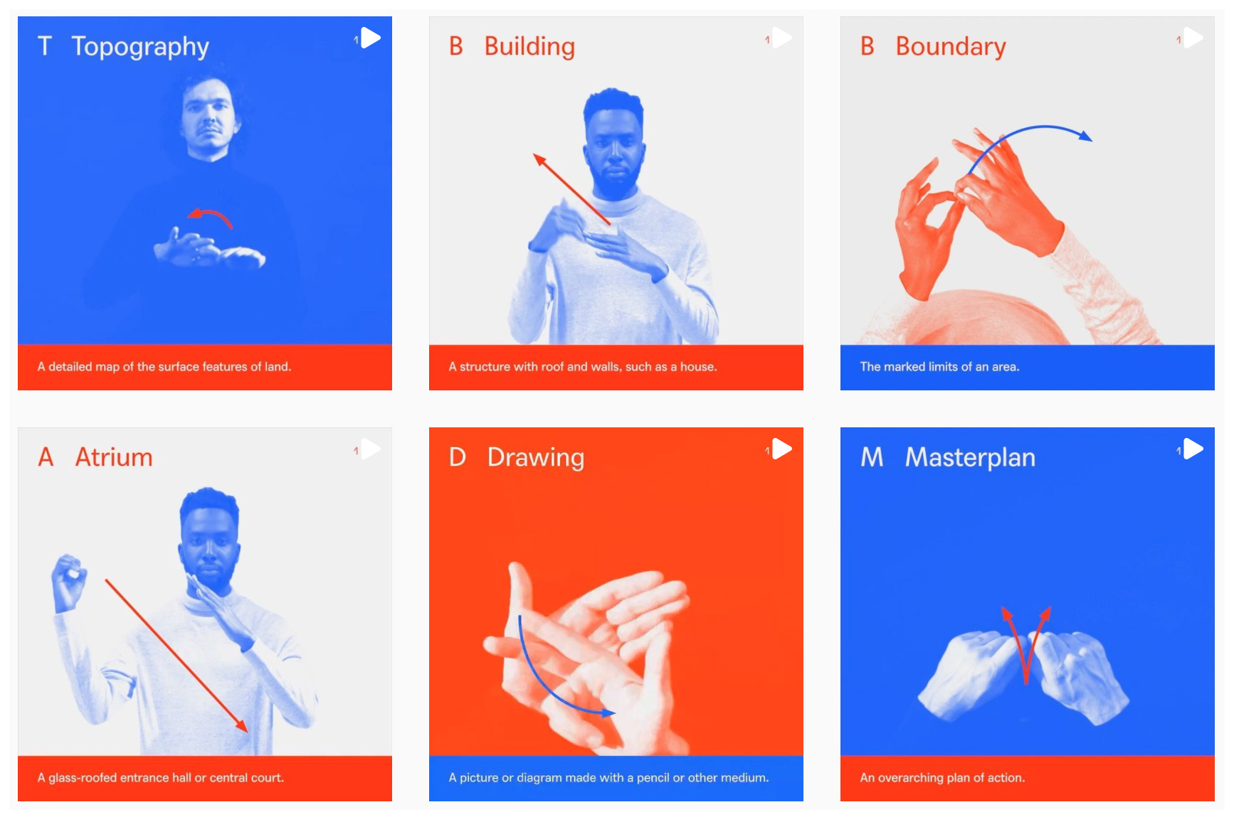 Series of blue, red and white images demonstrating hand signs for various architectural words
