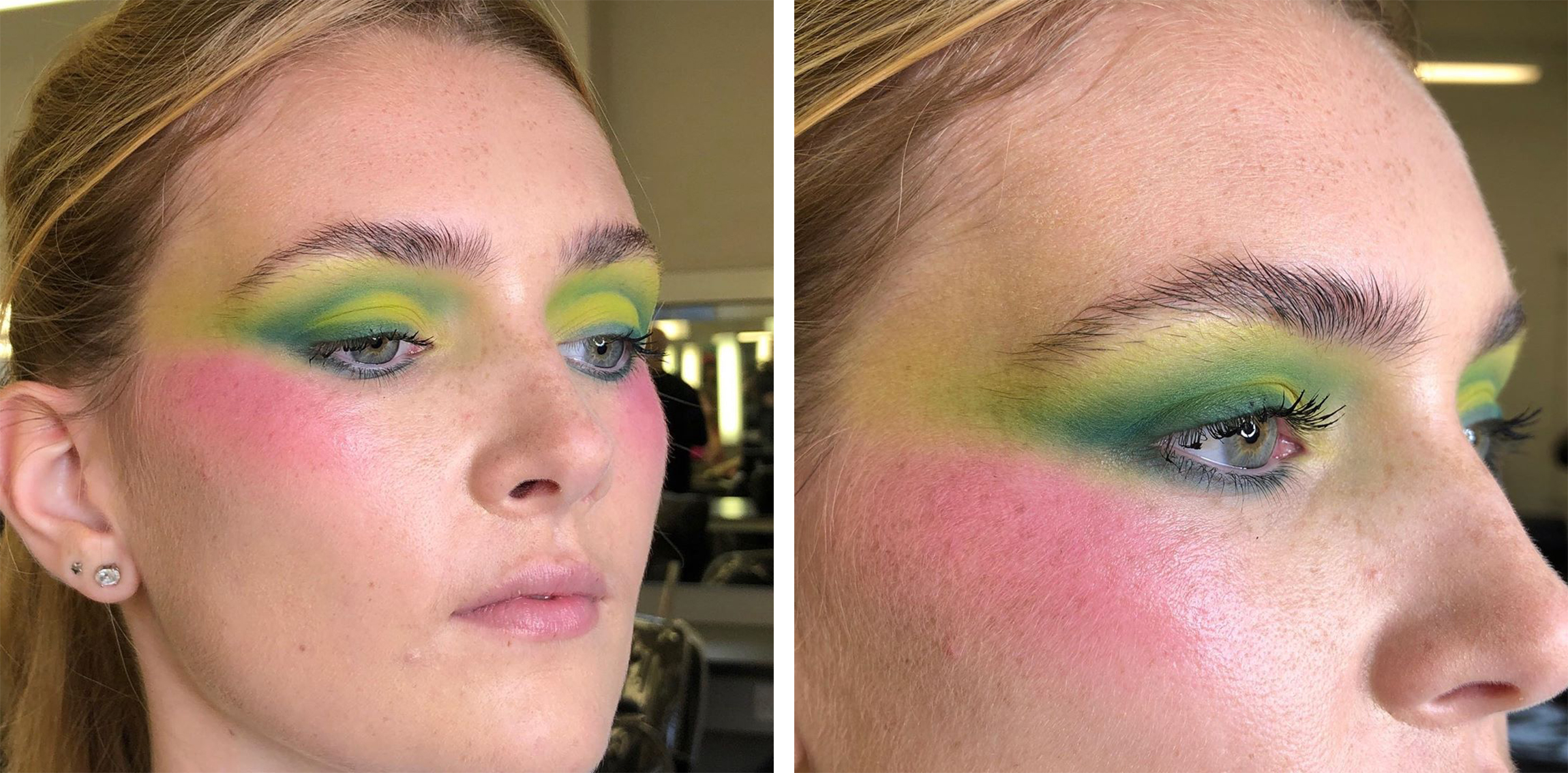 Student with green and yellow striking eyeshadow on