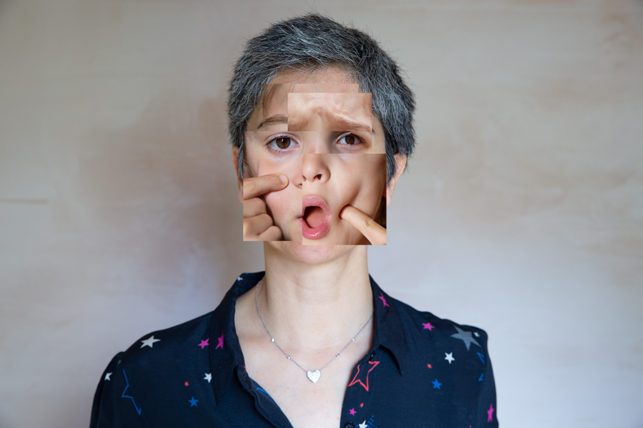 Photograph of a woman with mouth open