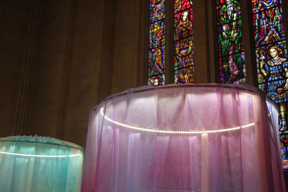 Large fabric light installation