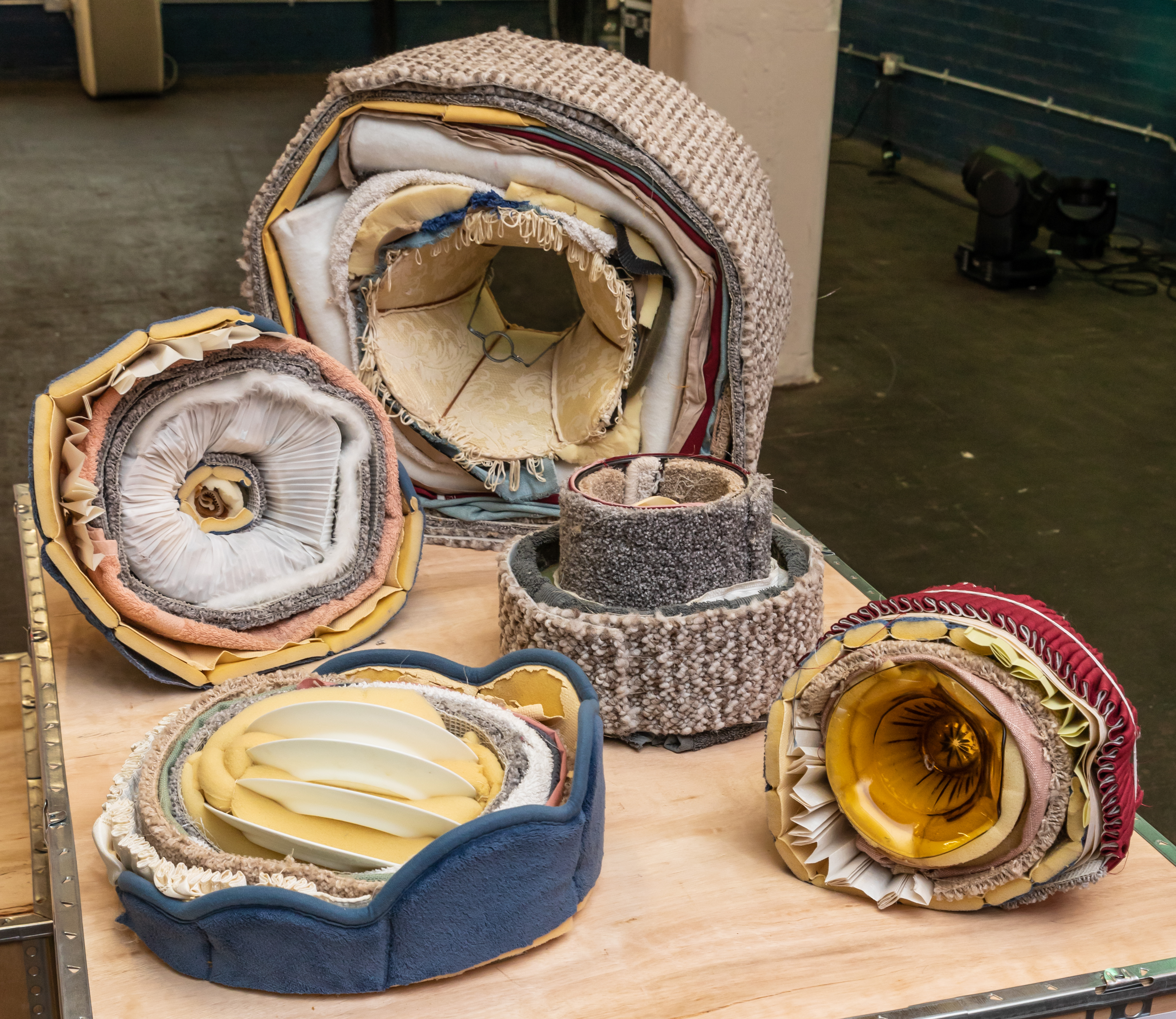 'Unwanted objects' By Martha Dommett. A collection of soft sculptures created completely out of discarded materials on exhibition at Origins Creative Arts Festival 2019