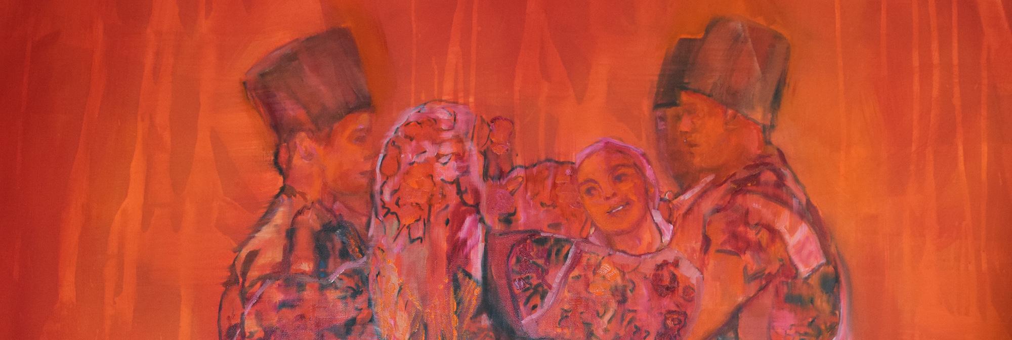 Orange canvas painting of 6 people doing romanian folk dancing