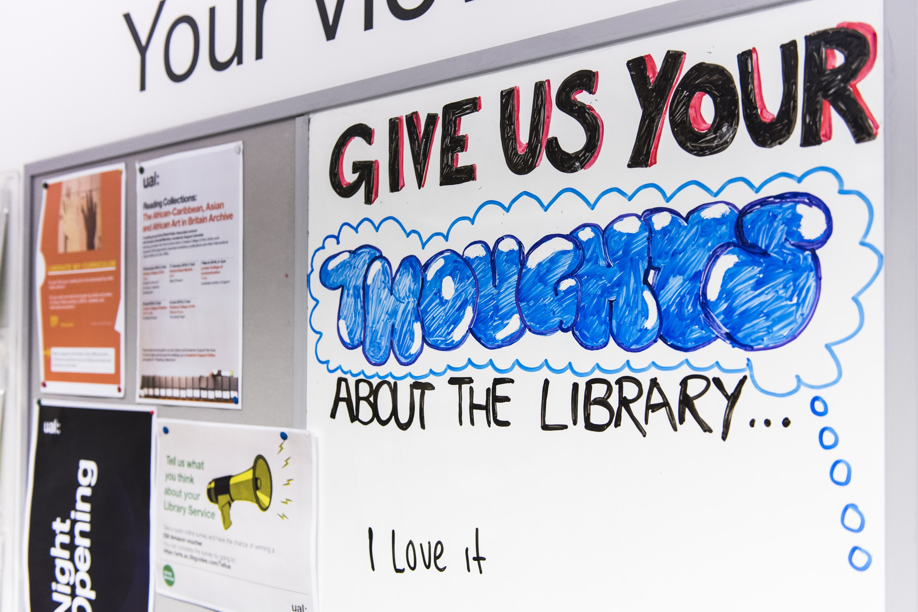 Photo of LCF library notice board focusing on whiteboard for comments