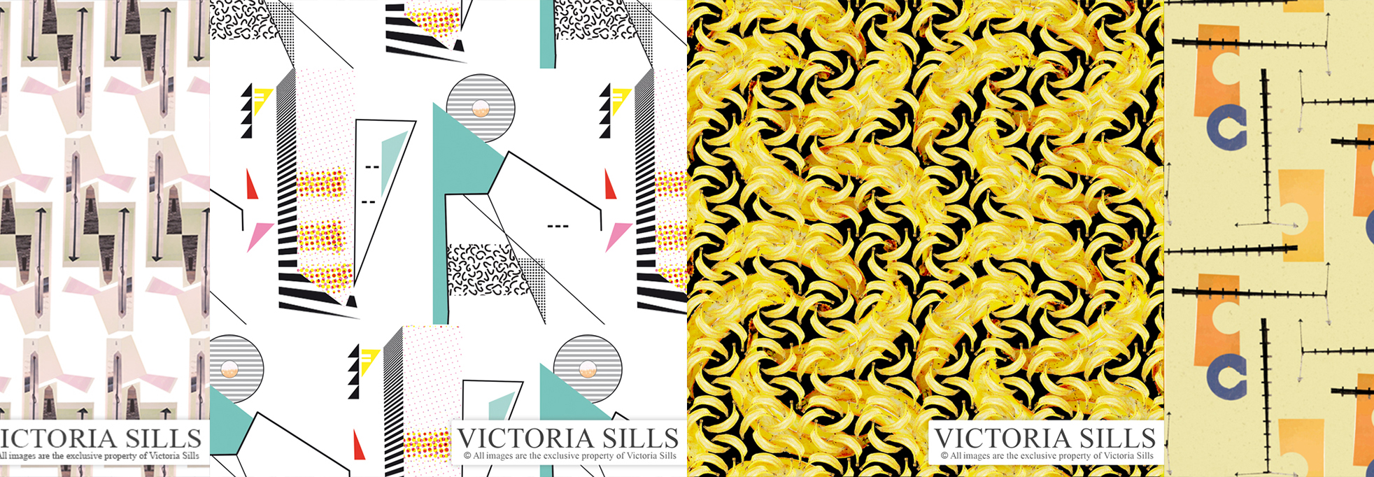 Victoria Sills created pattern, 4 panels with green and pink blocks, bananas, 80s print and orange/blue/yellow.