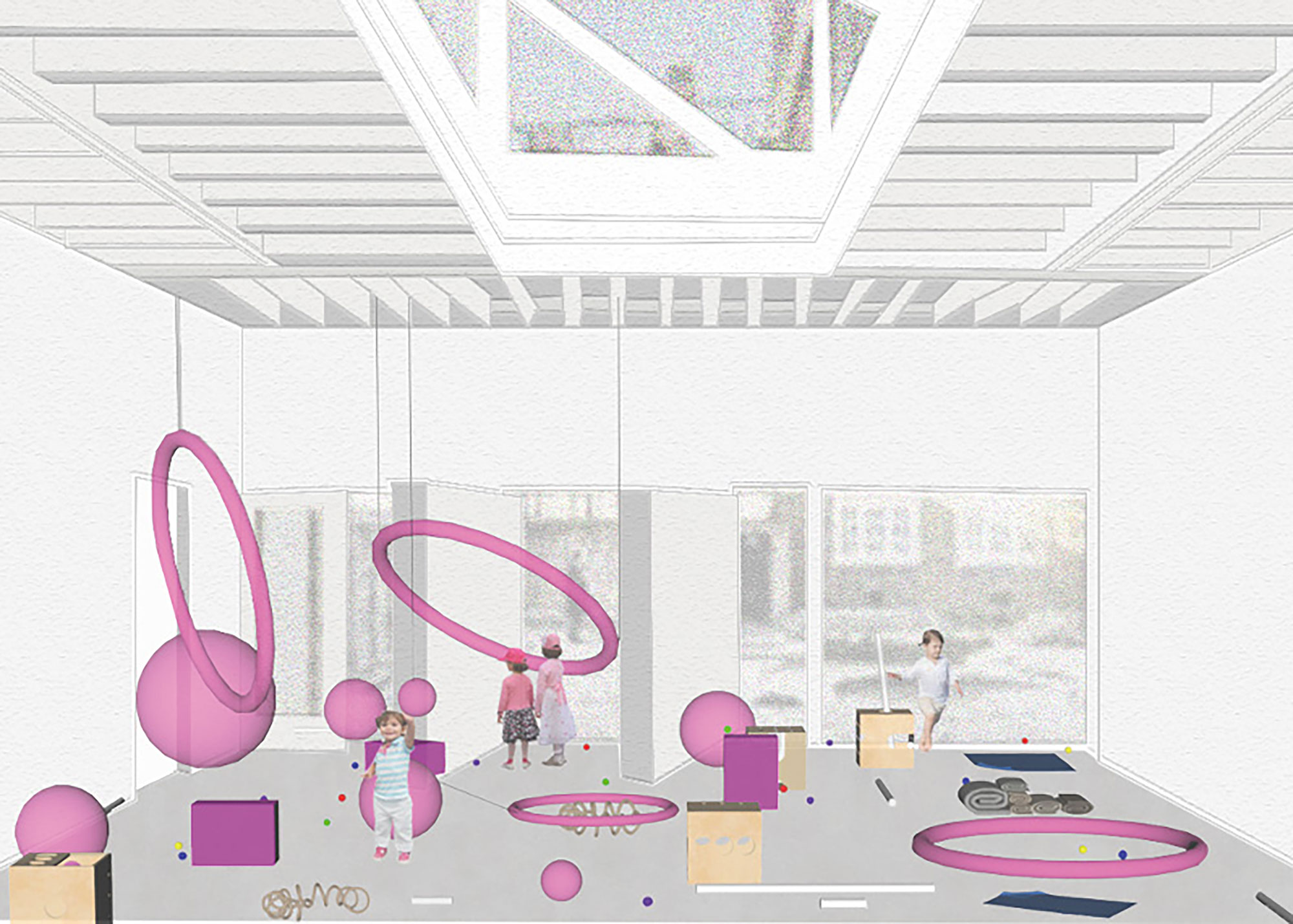 Digital rendering of play space at South London Gallery