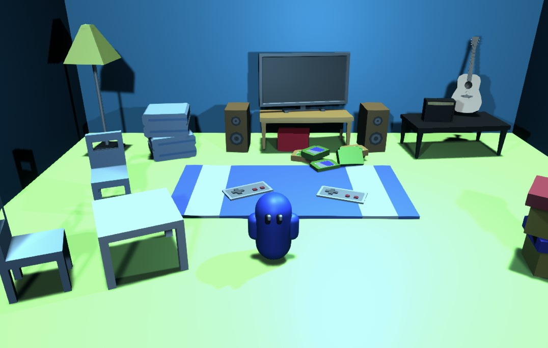 Still from Found Guys VS game featuring a television, games, and a character from the game.