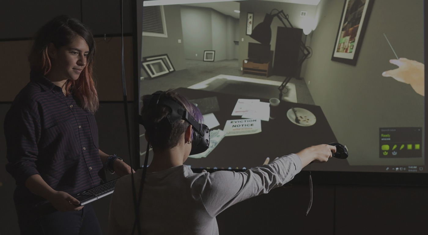 A user tests out VR equipment.
