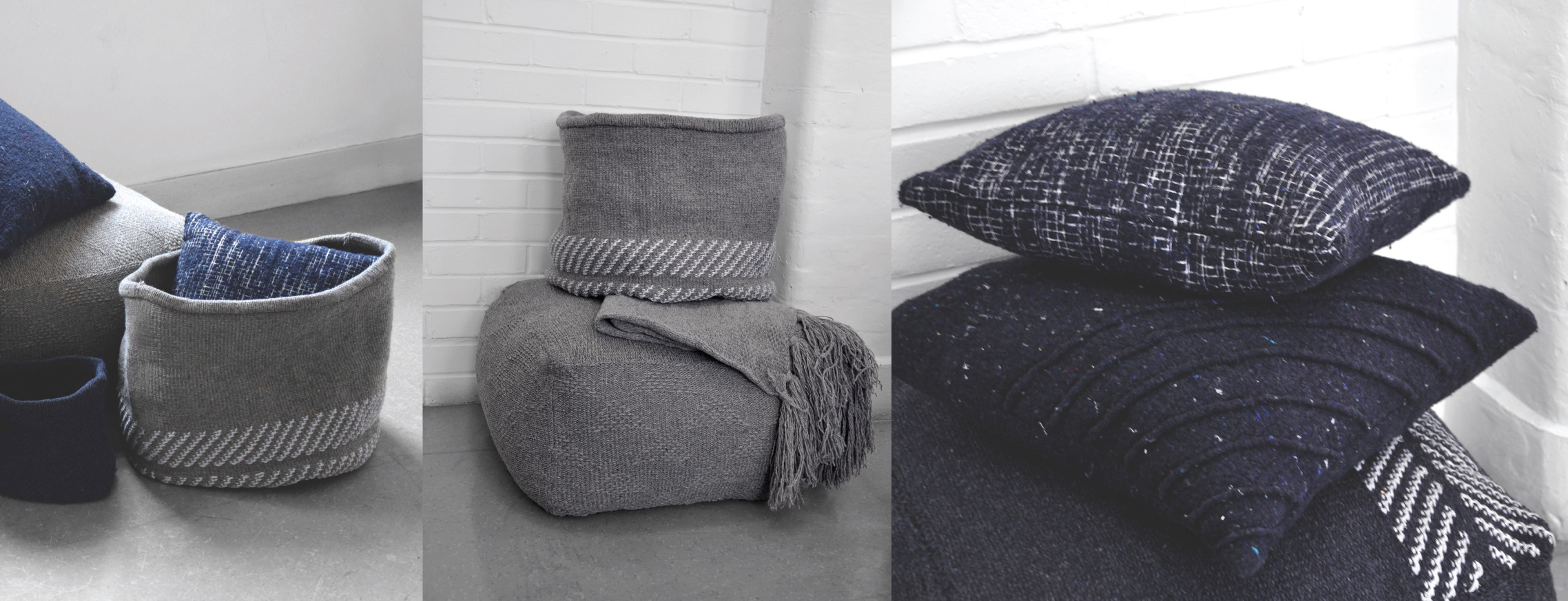 Grey cushions and fabric