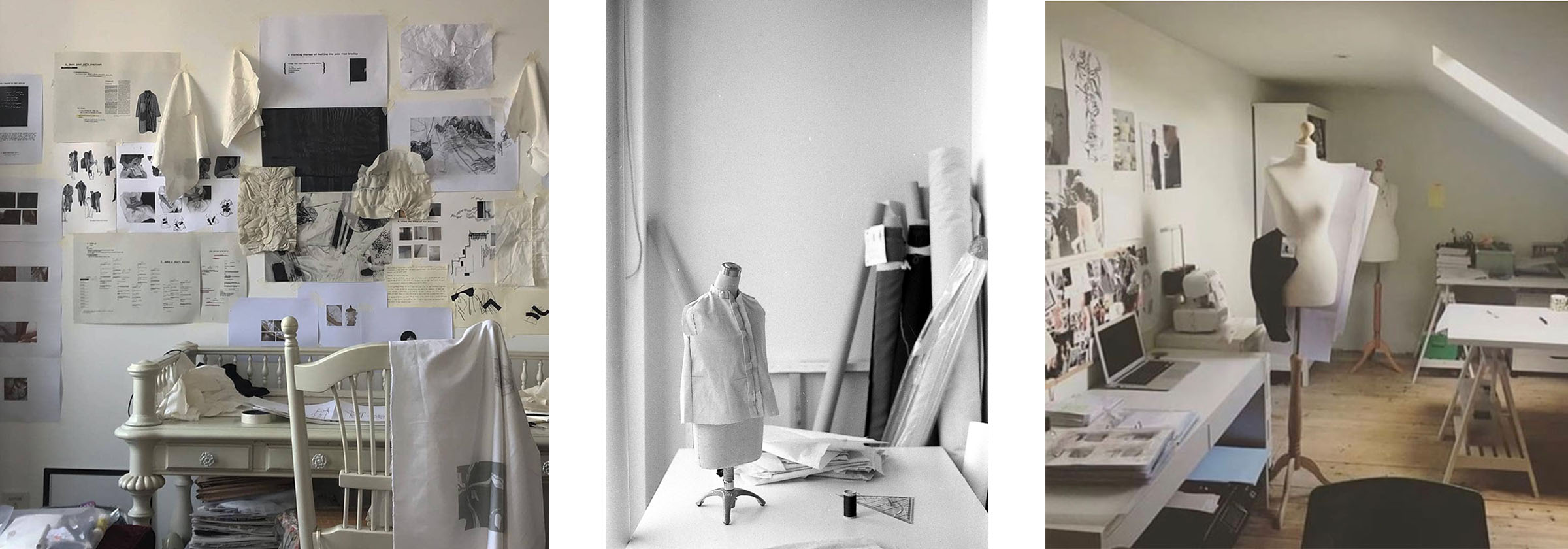 Design studios with different elements like mannequins, moodboards and design patterns