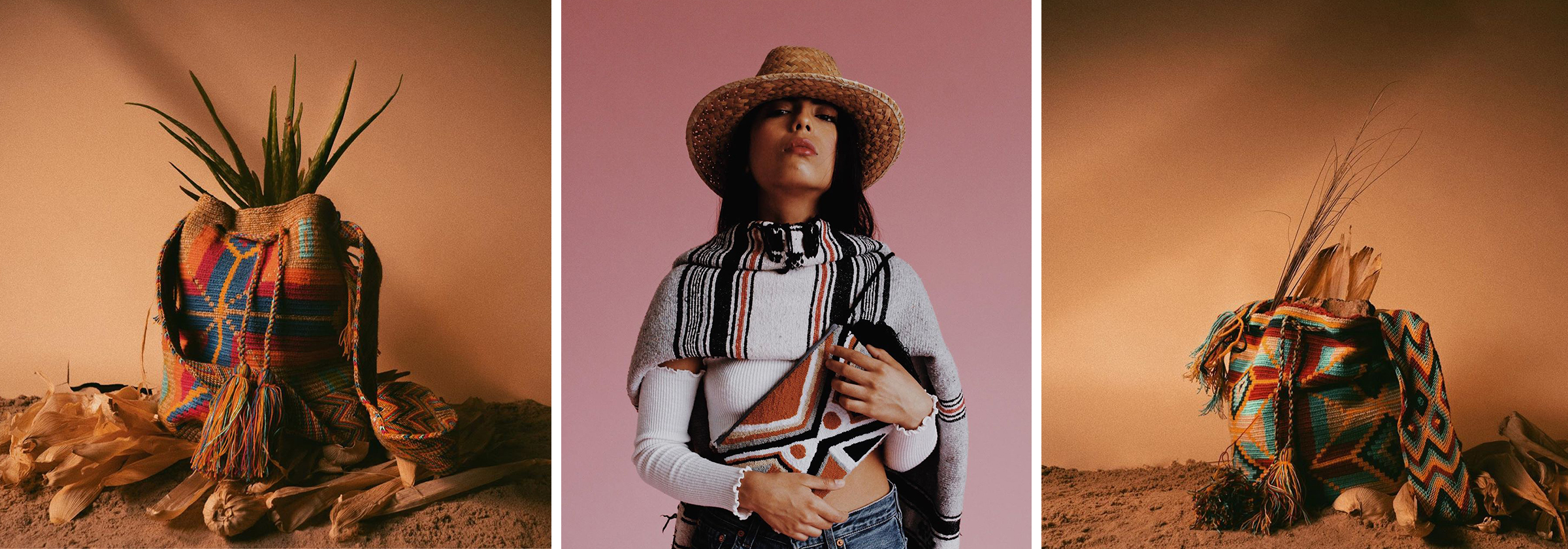 Models posing with traditional bags and hats from Venezuela