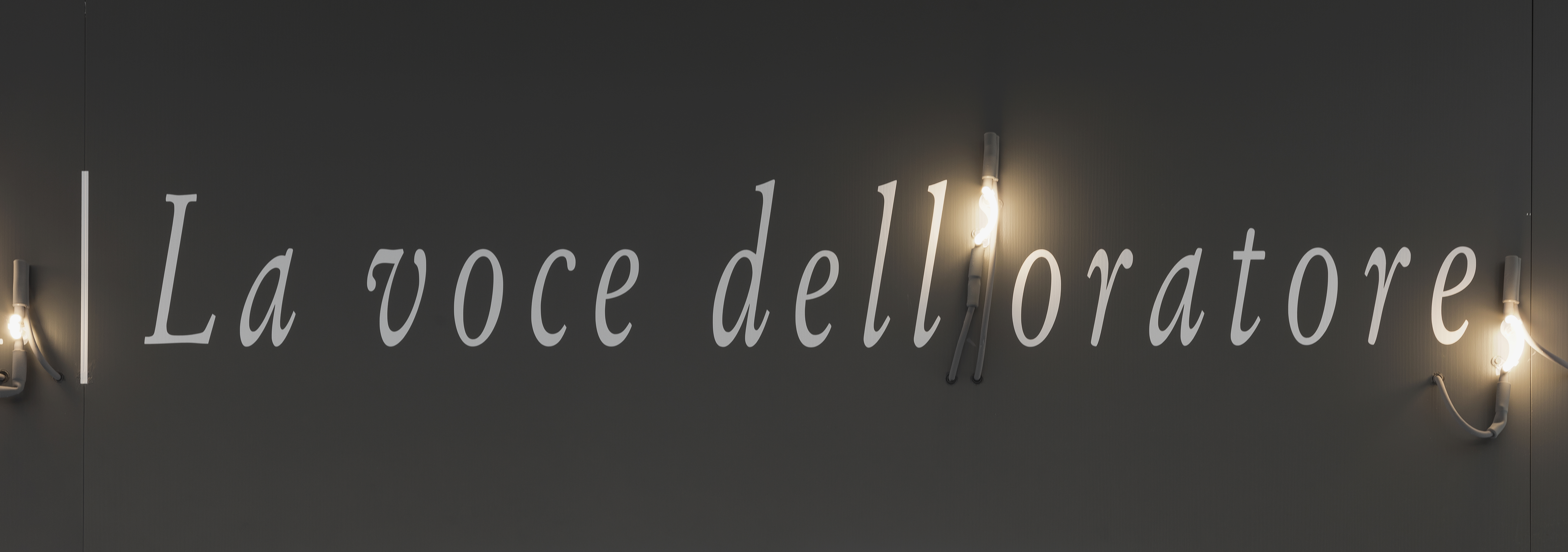 A piece of white text against a black wall