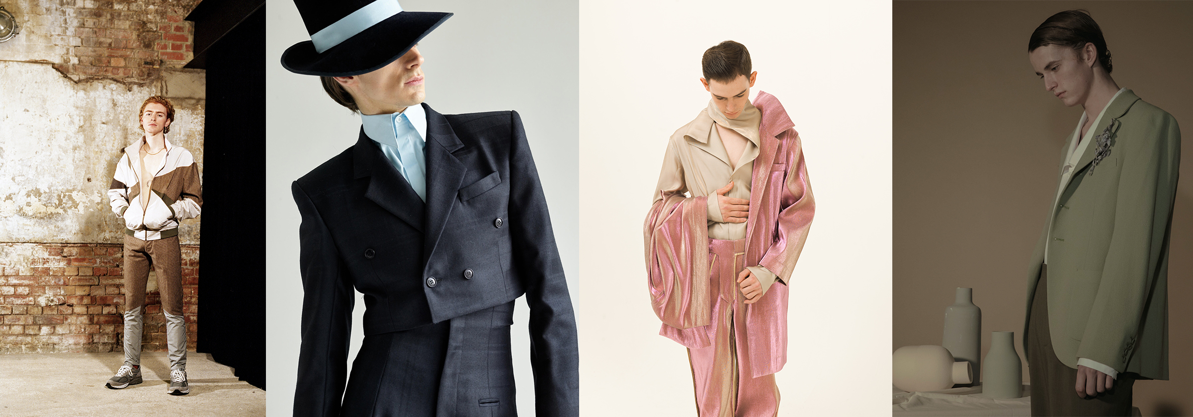 Various male models posing with different outfits