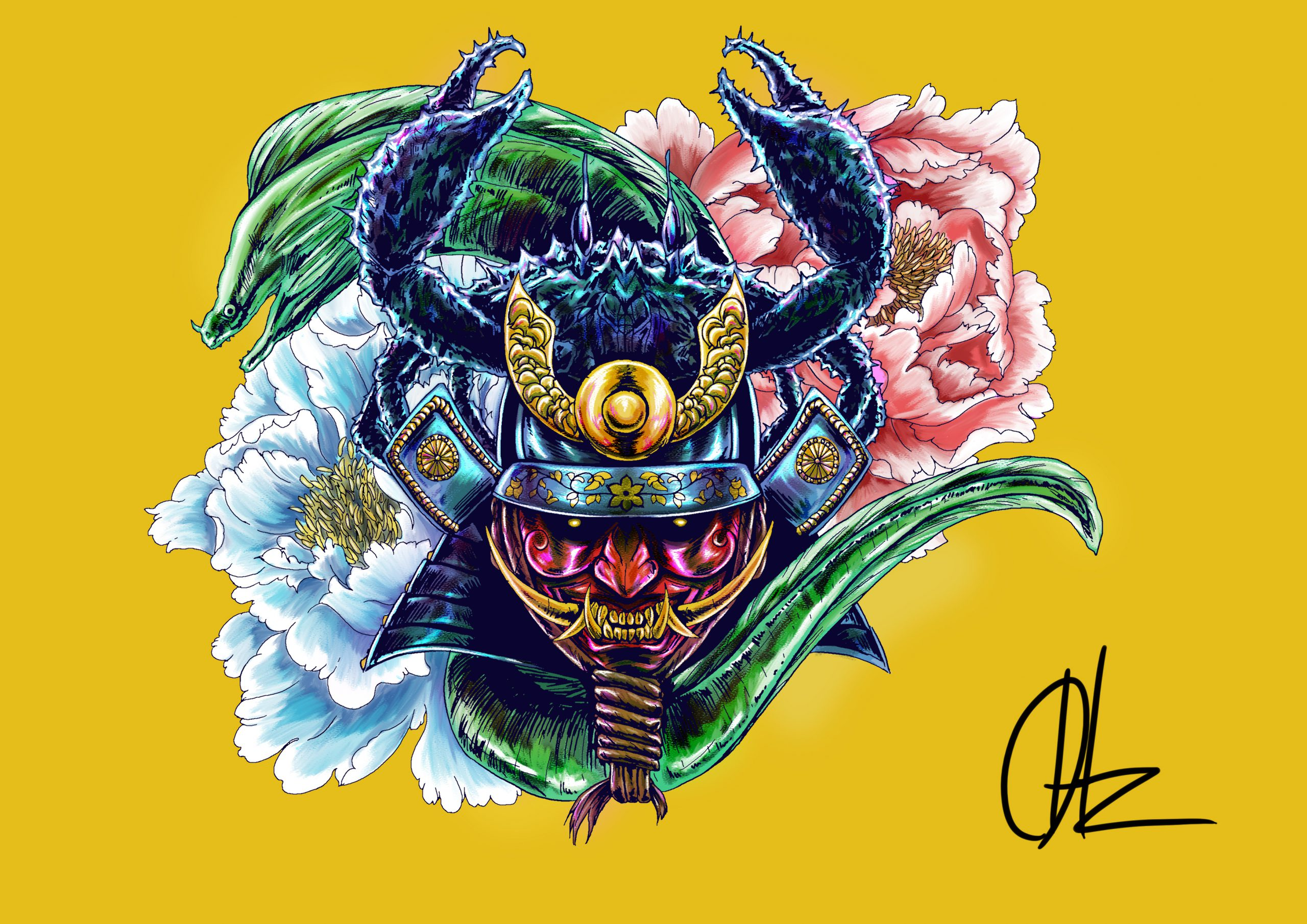Stylised illustration of a character wearing a samurai helmet adorned with a crab, sea creature and flowers
