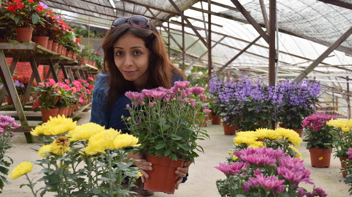 Woman amongst flowers
