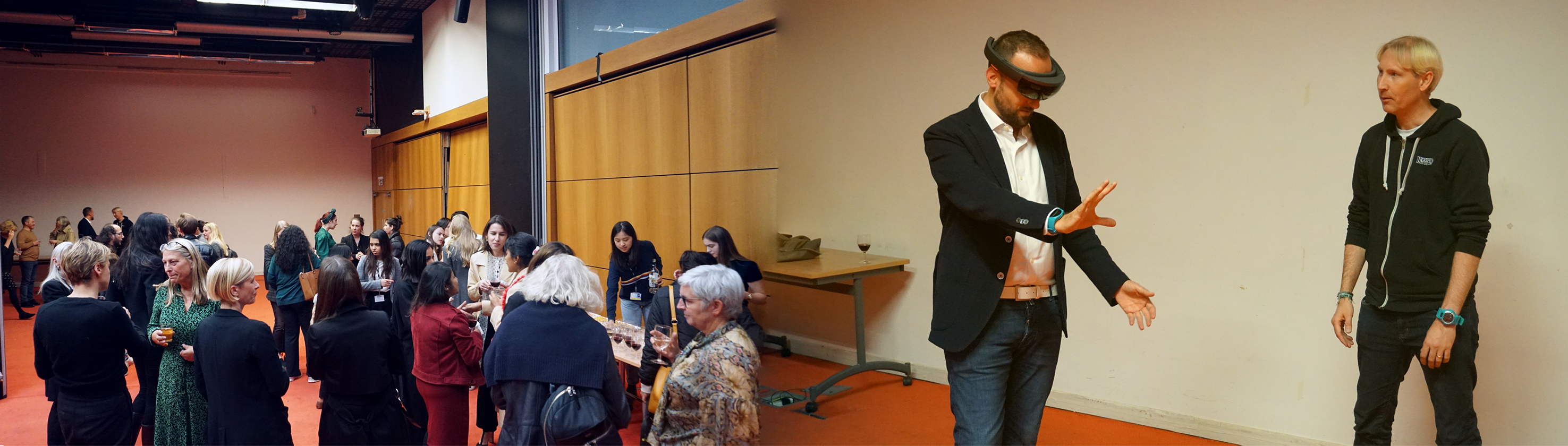 Image of people networking and with matthew drinkwater using virtual reality