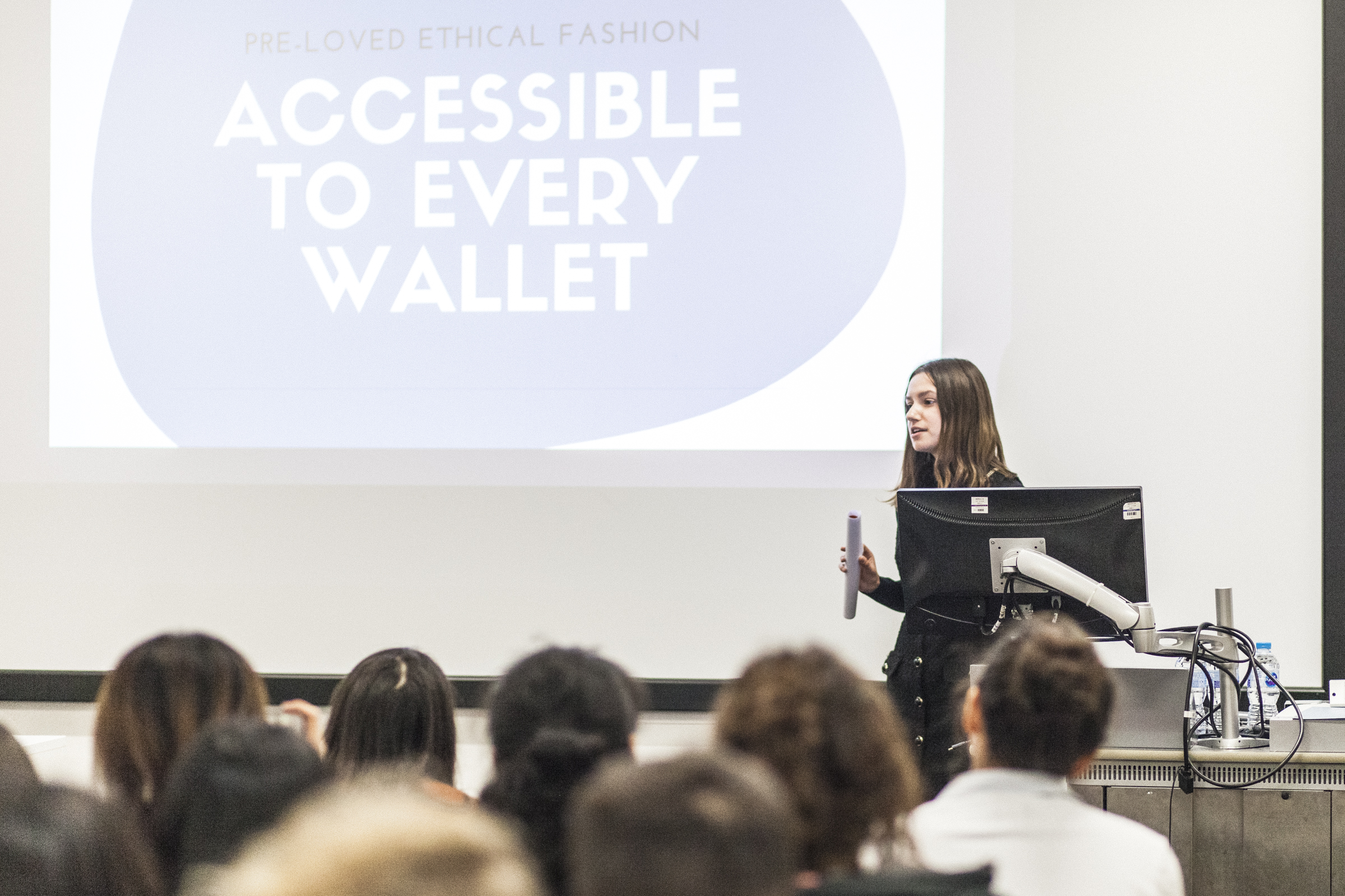 UAL student Hanna Moedder pitching her business idea in front of a live audience.