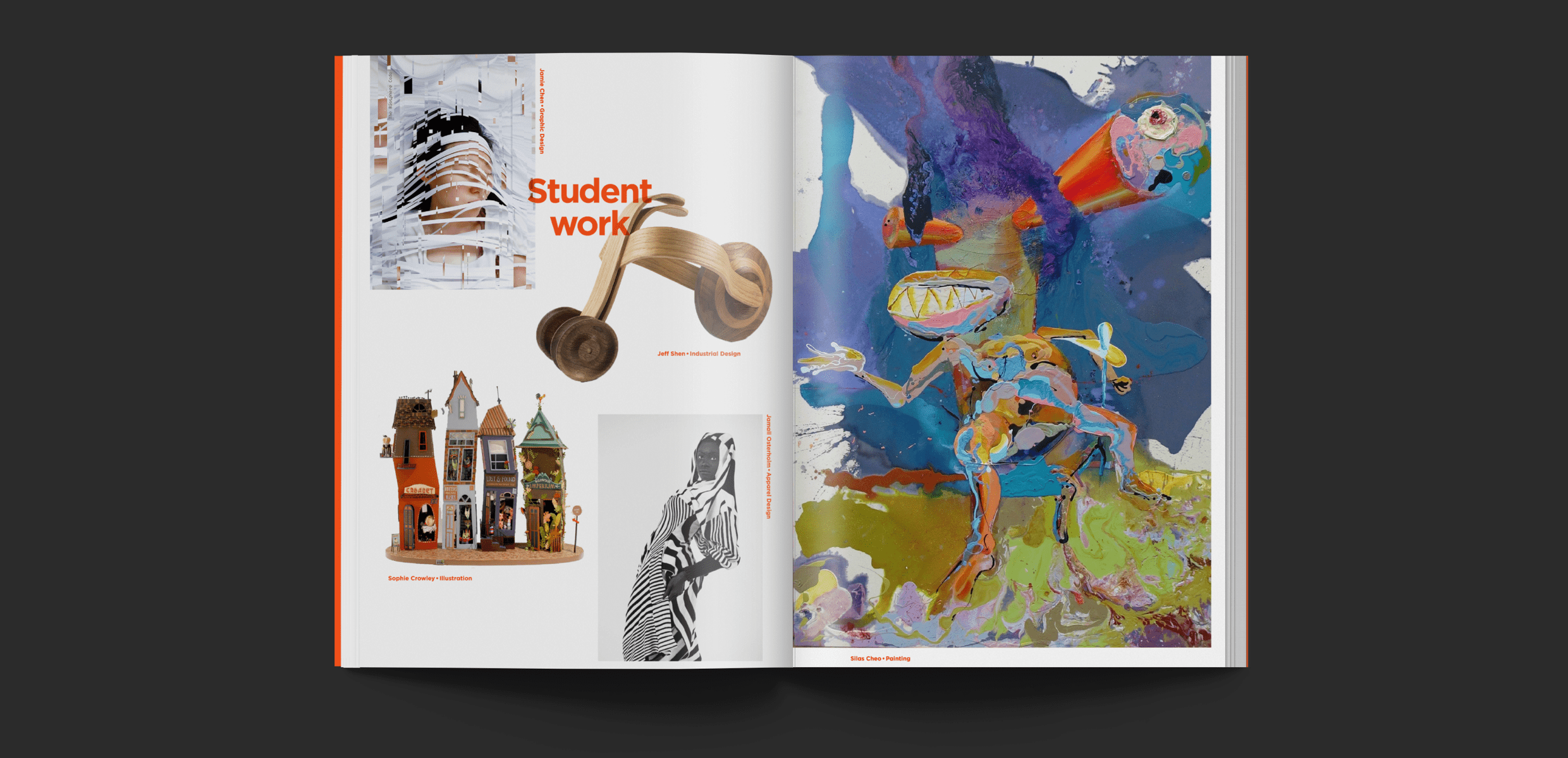 Double page spread with on the left and photograph collage on the right