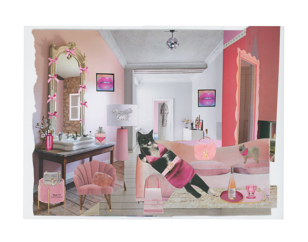 A graphic design image of a reclining cat in a pink and white interior