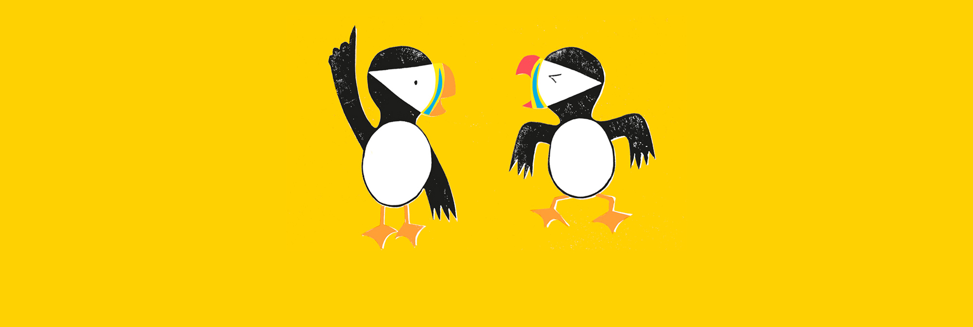 Illustration of two puffins talking to each other by Morag Hood.