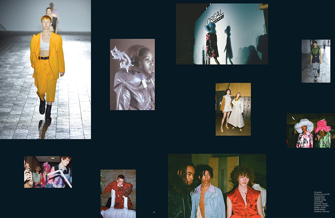 Composite spread of catwalk and model images