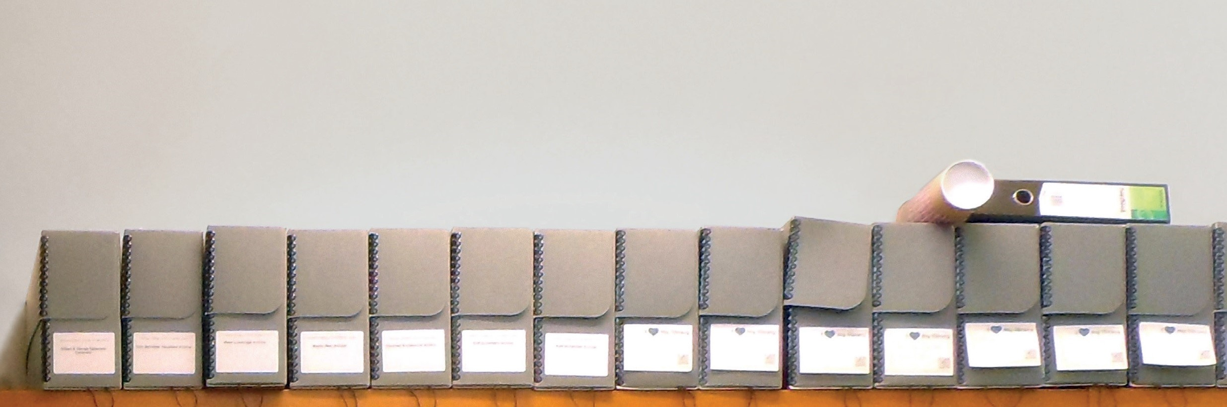 Shelf of grey archive boxes
