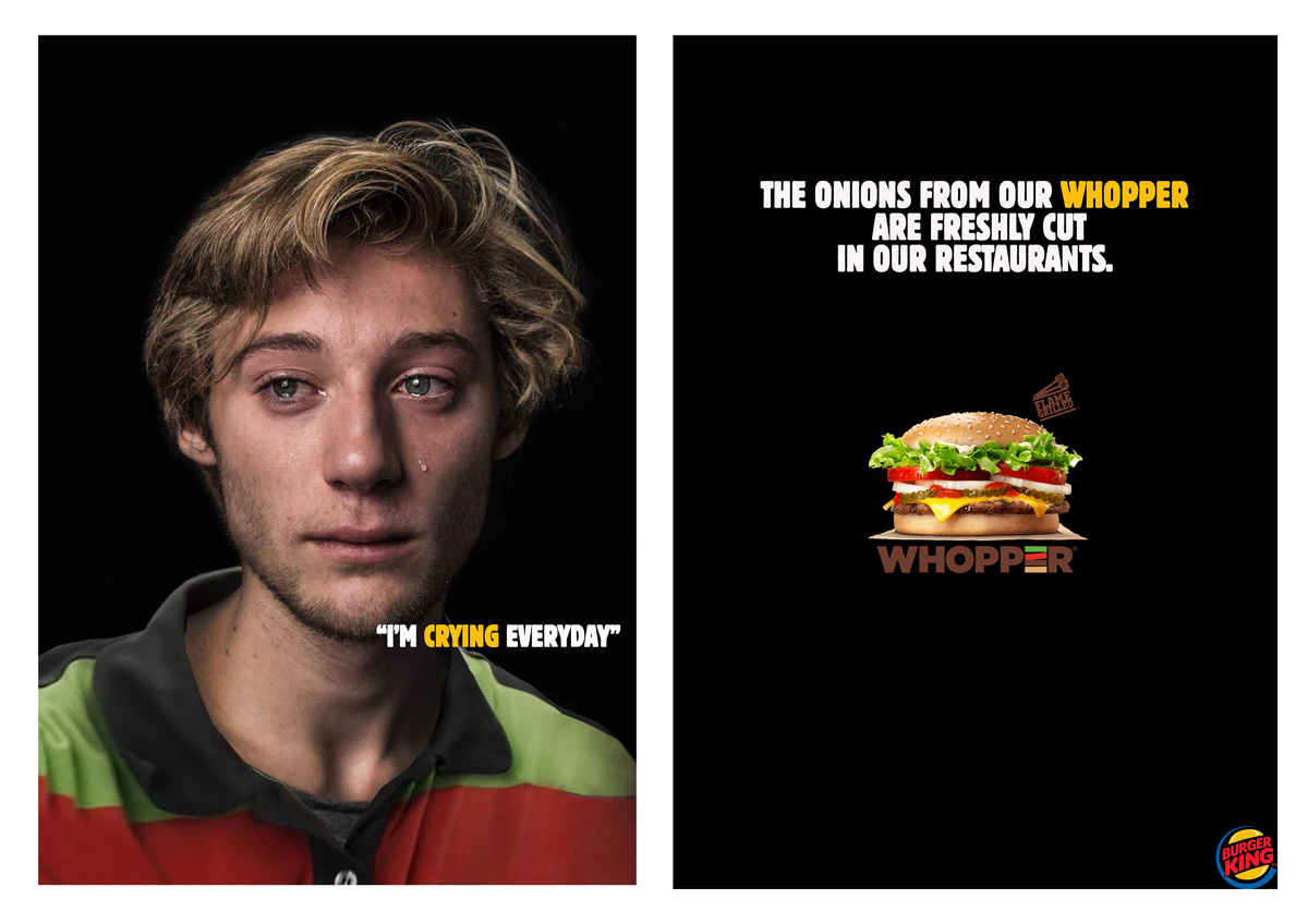 Two posters for Burger King. Left has a photo of a crying employee with the caption