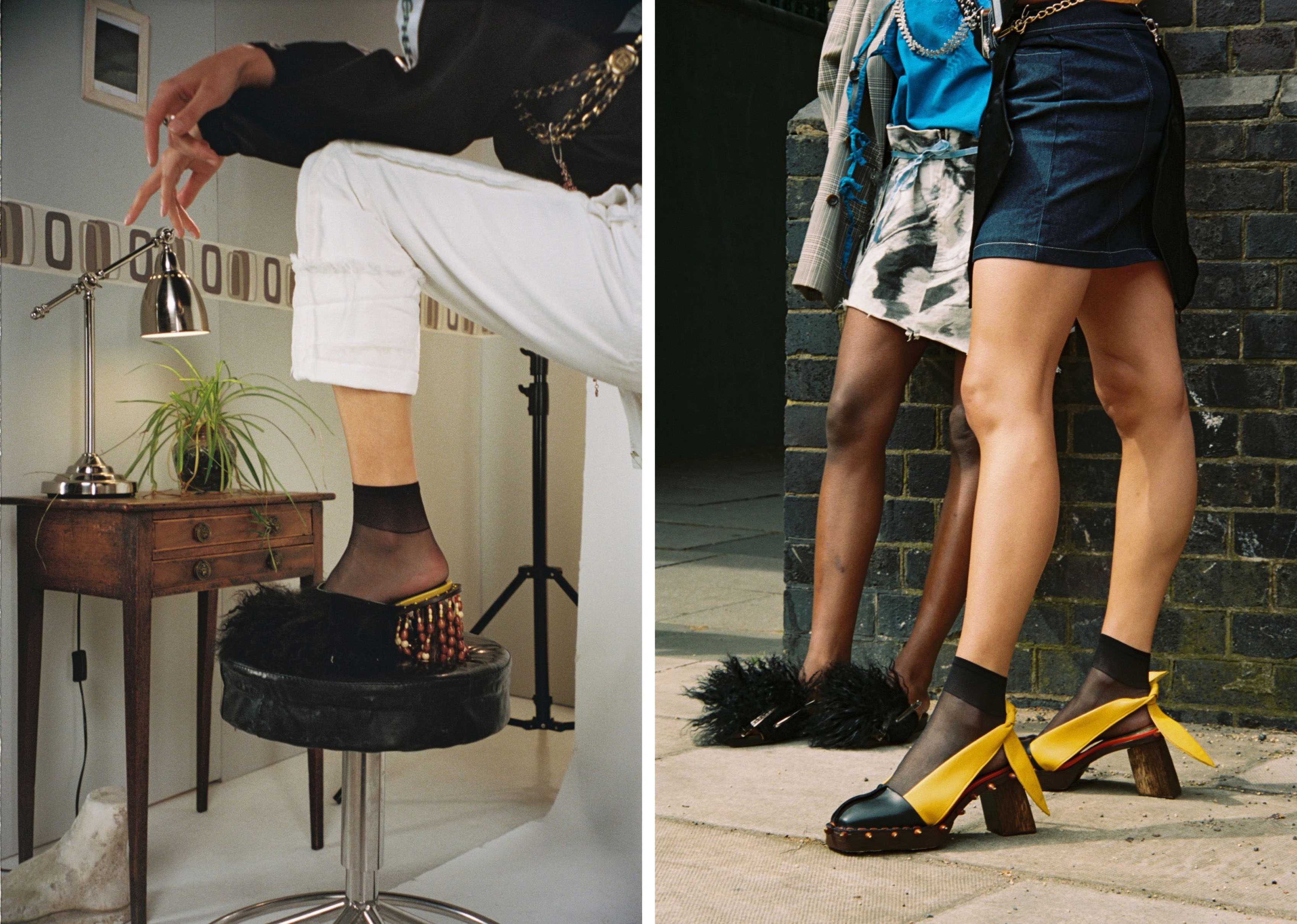 two fashion lookbook images displaying yellow and black shoes