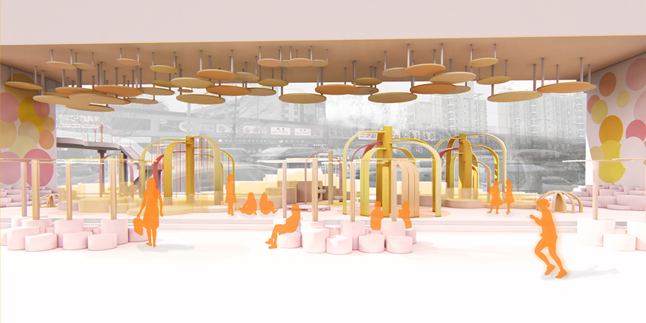 Image depicts a concept for 'The Candy Playground', a child's play area.
